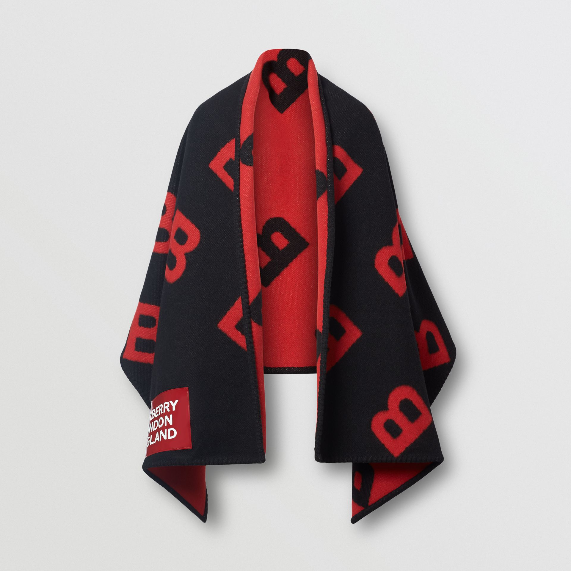 Reversible B Motif Wool Cashmere Blanket Cape in Black/bright Red | Burberry Hong Kong S.A.R - gallery image 3