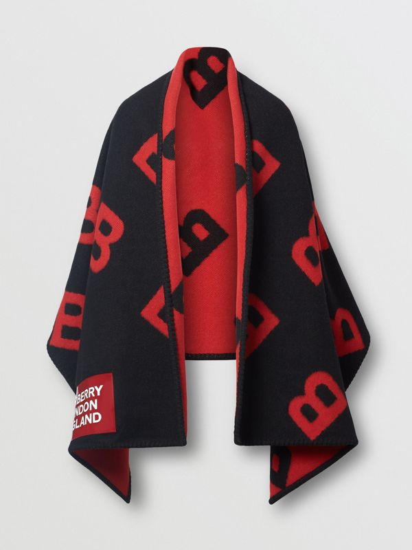 Reversible B Motif Wool Cashmere Blanket Cape in Black/bright Red | Burberry - cell image 3