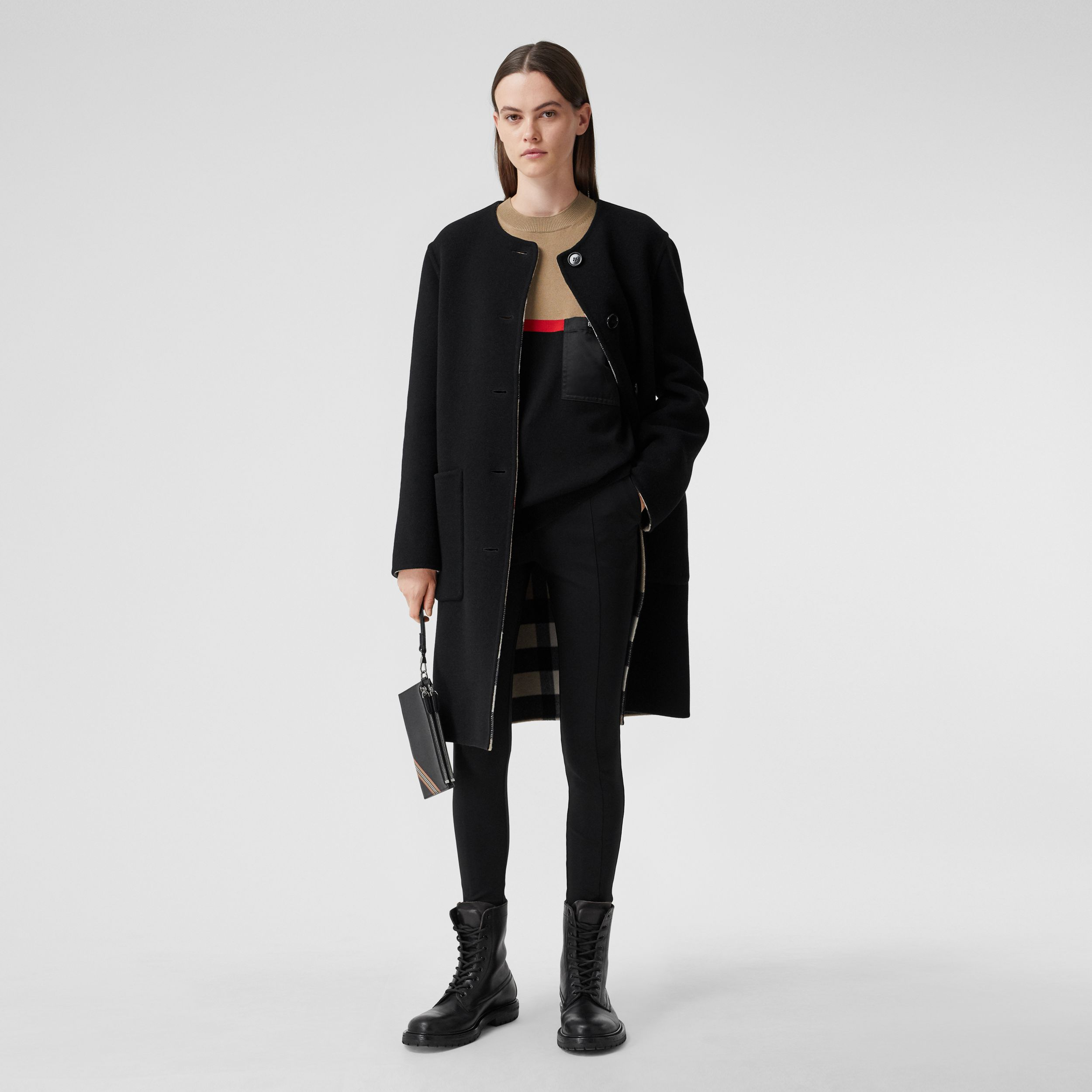 Reversible Check Technical Wool Coat in Black - Women | Burberry Singapore - 1