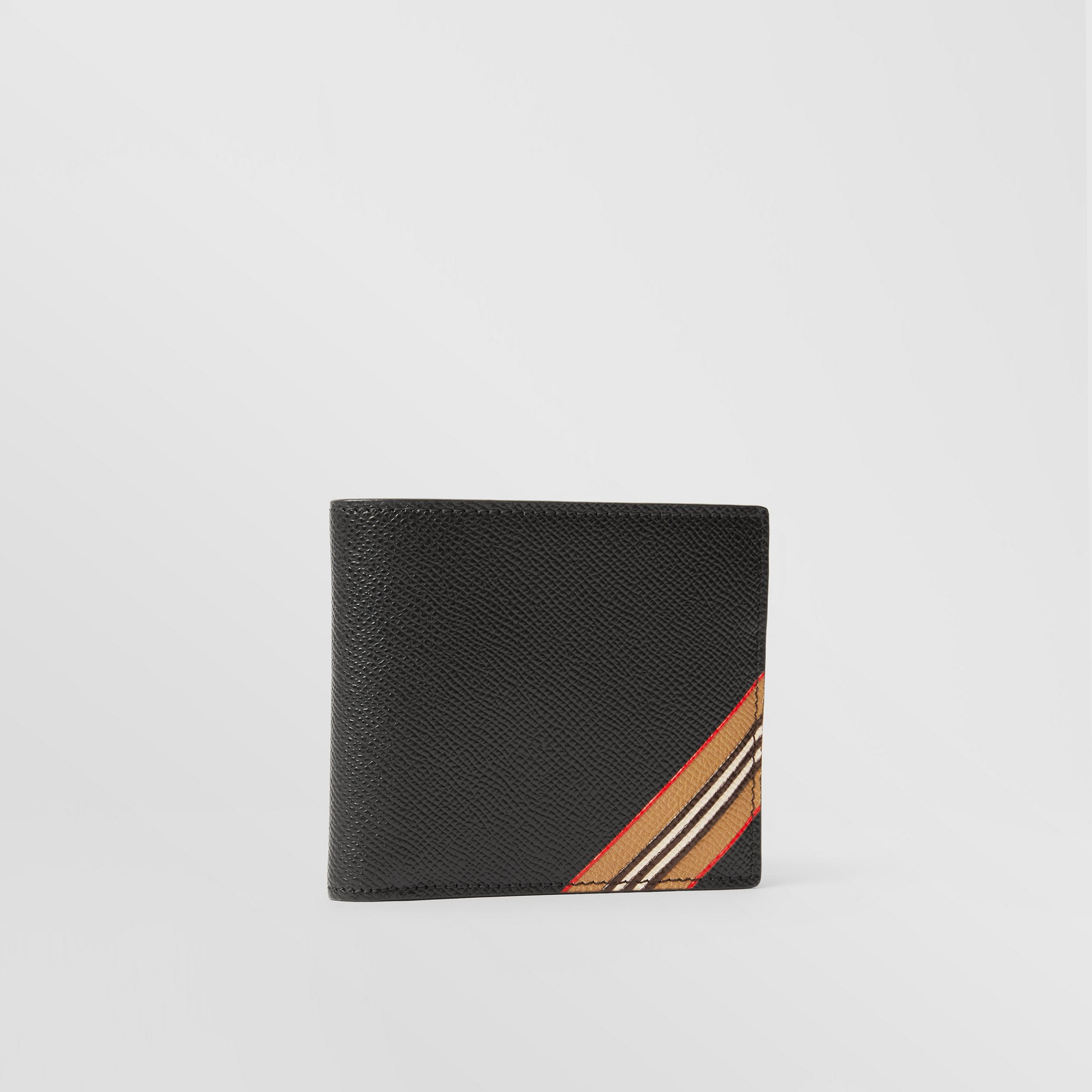 Icon Stripe Print Leather International Bifold Wallet in Black - Men | Burberry - 4
