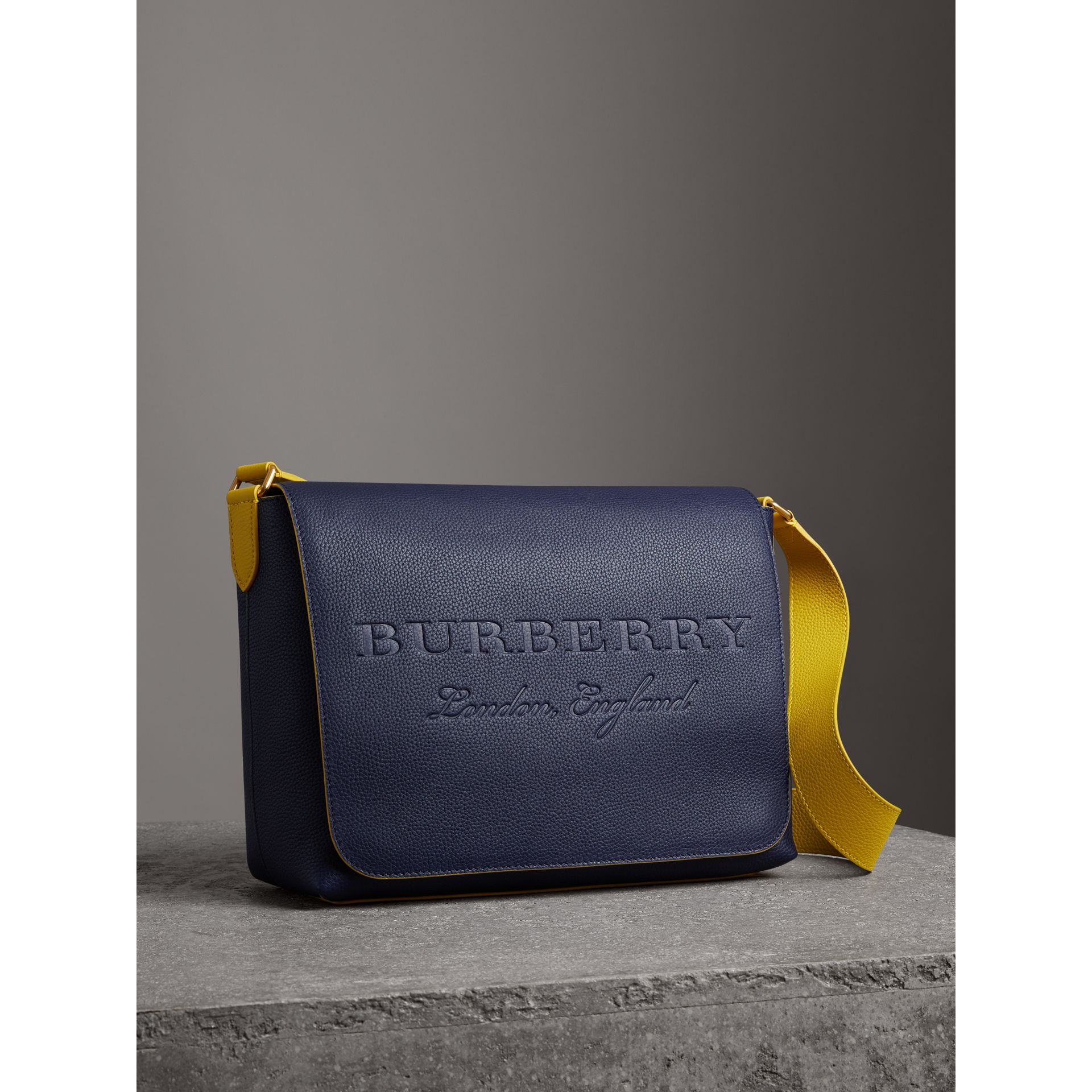 Large Two-tone Embossed Leather Messenger Bag in Regency Blue - Men | Burberry - gallery image 6