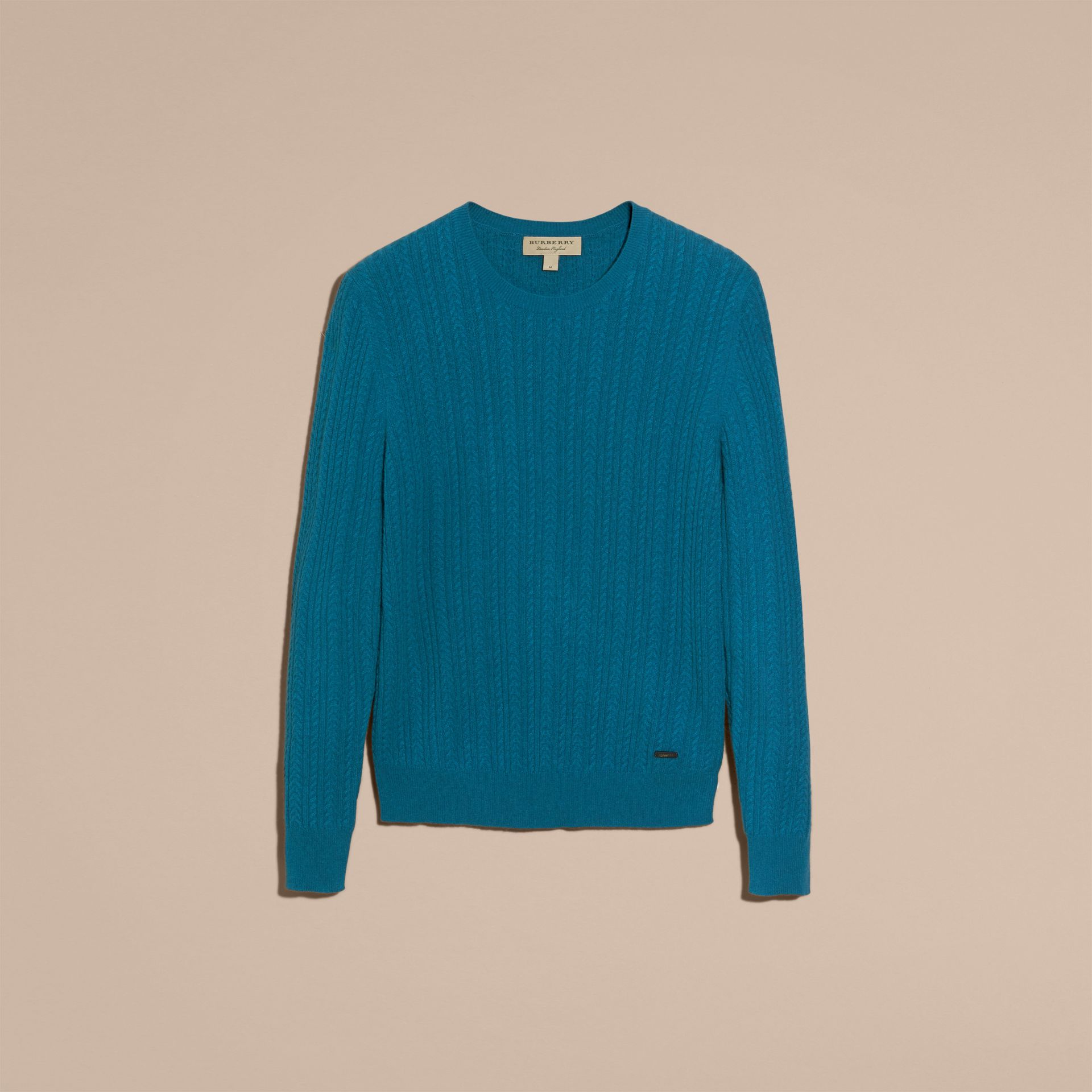 Cyan blue Aran Knit Cashmere Sweater Cyan Blue - gallery image 4