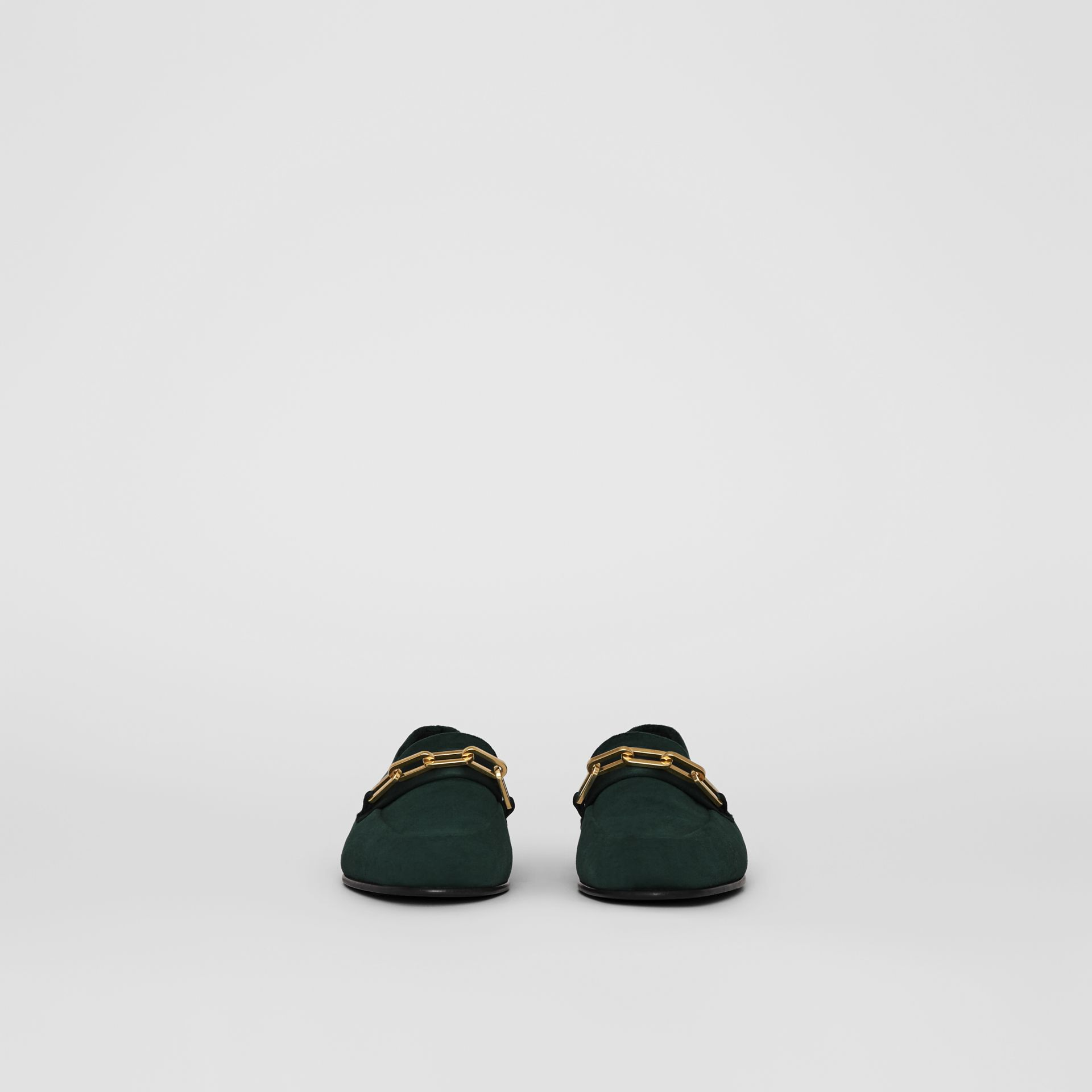 Link Detail Velvet Loafers in Dark Forest Green - Women | Burberry United Kingdom - gallery image 3
