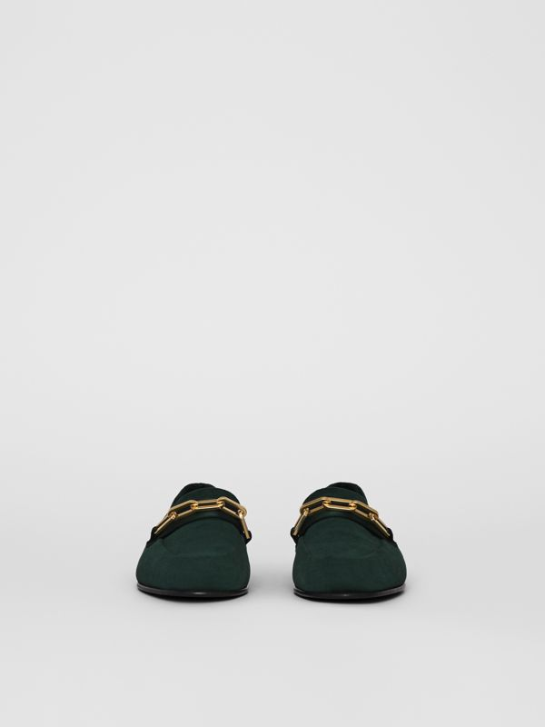 Link Detail Velvet Loafers in Dark Forest Green - Women | Burberry - cell image 3