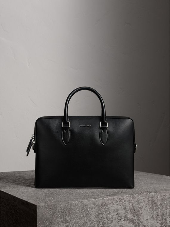 The Slim Barrow in London Leather in Black - Men | Burberry Australia