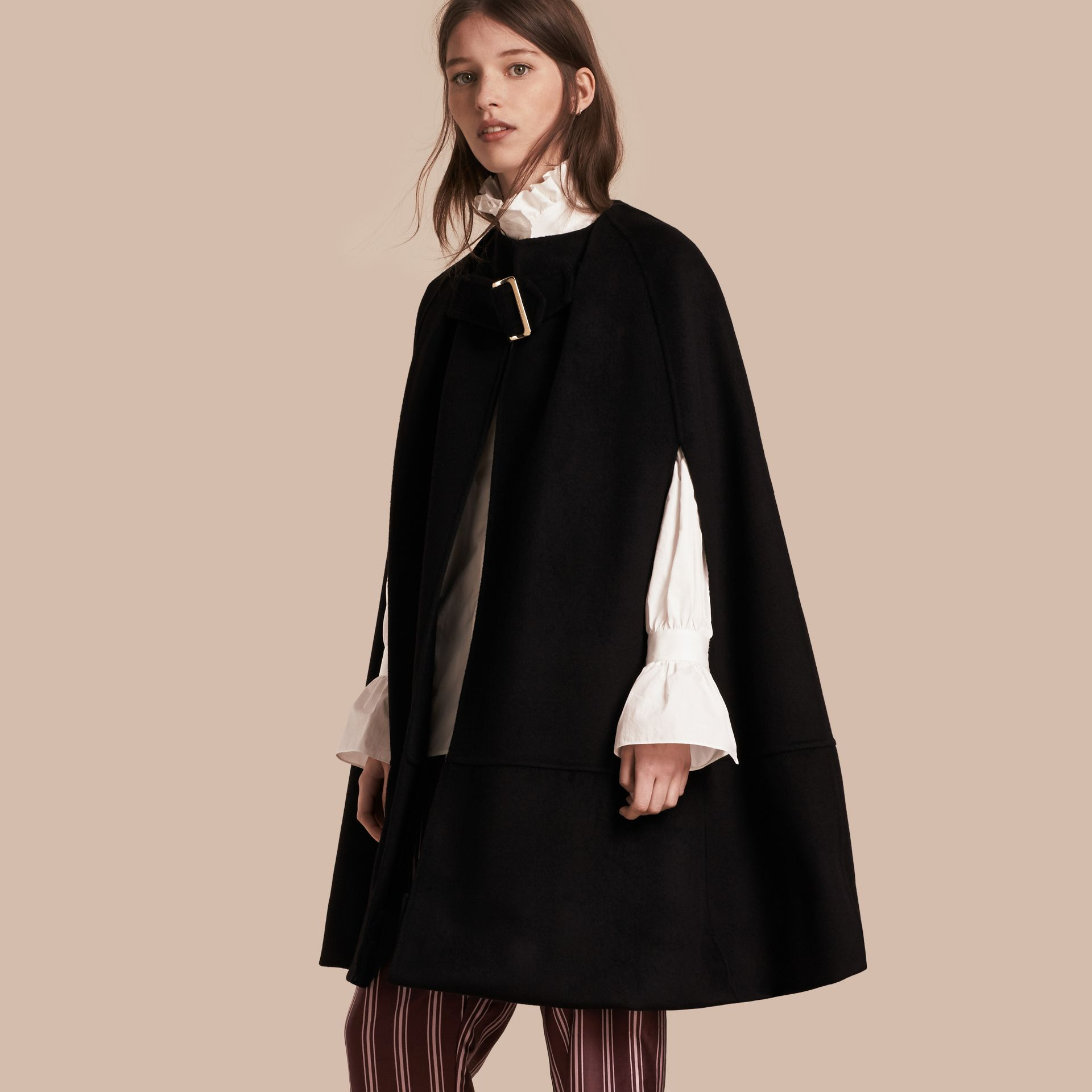 Black Panelled Cashmere Cape with Buckle Detail - gallery image 1