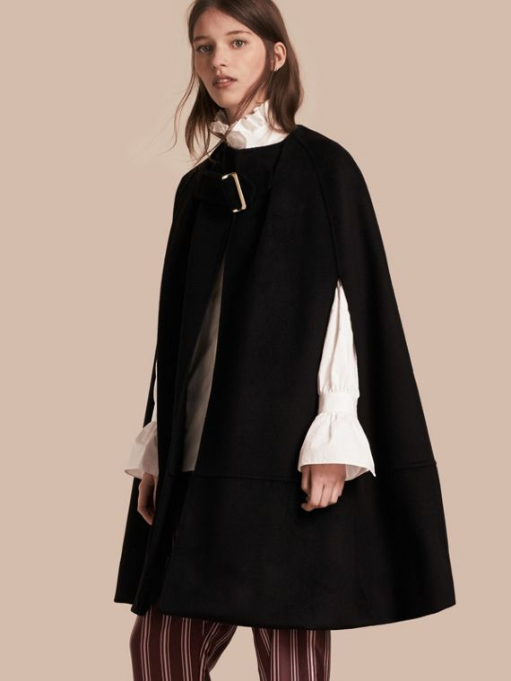 Panelled Cashmere Cape with Buckle Detail
