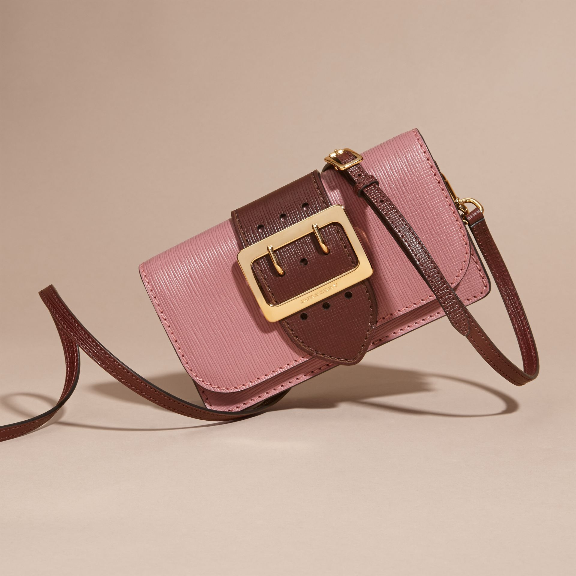 The Small Buckle Bag in Textured Leather Dusky Pink/ Burgundy - gallery image 8