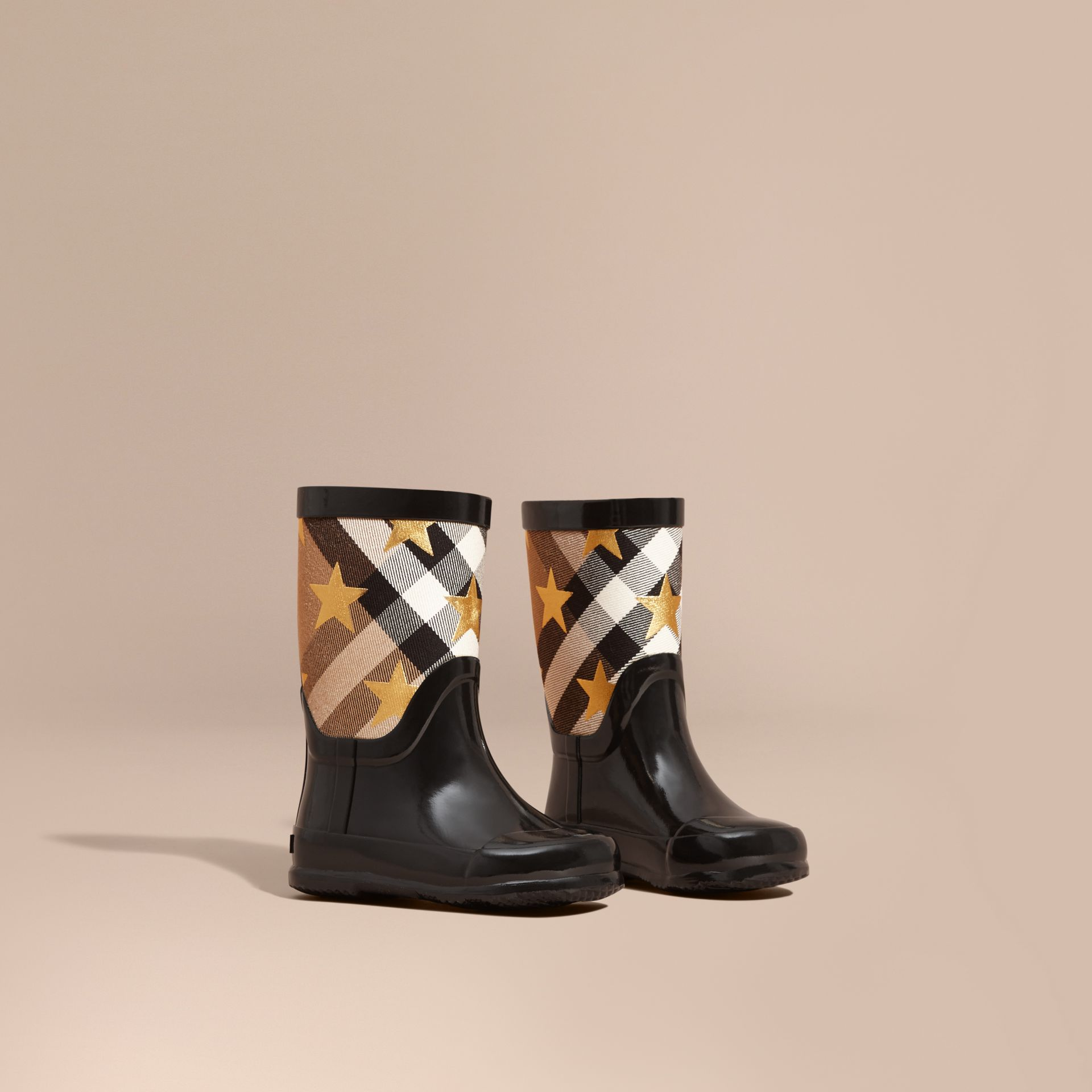 Star Print House Check Rain Boots - gallery image 1