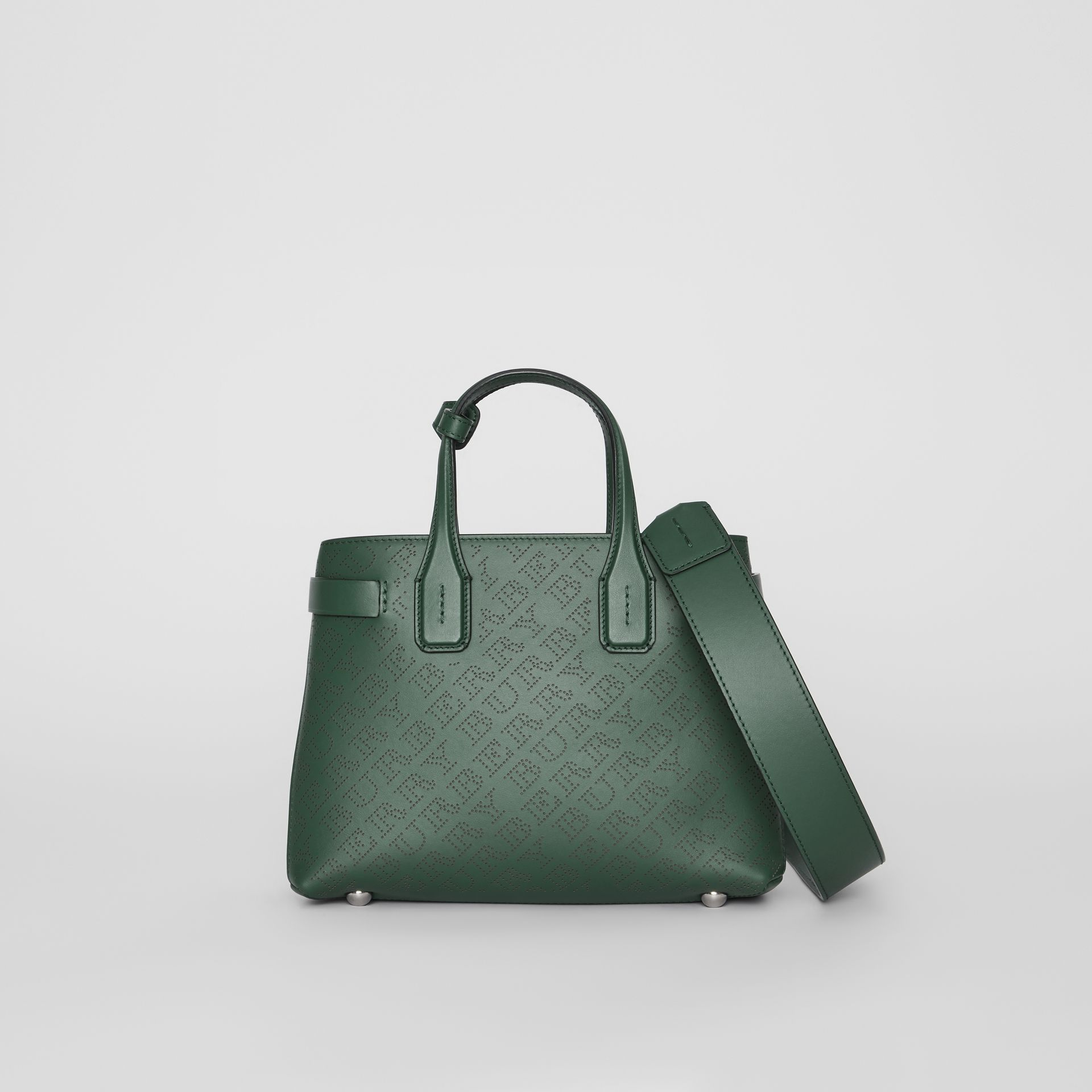 The Small Banner in Perforated Logo Leather in Vintage Green - Women | Burberry United Kingdom - gallery image 0