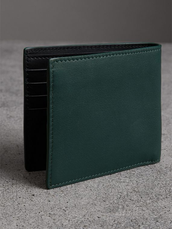 Graffiti Print Leather International Bifold Wallet in Deep Bottle Green - Men | Burberry United States - cell image 2