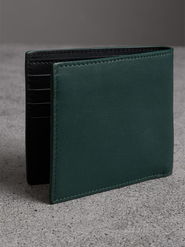 Graffiti Print Leather International Bifold Wallet in Deep Bottle Green - Men | Burberry - cell image 2