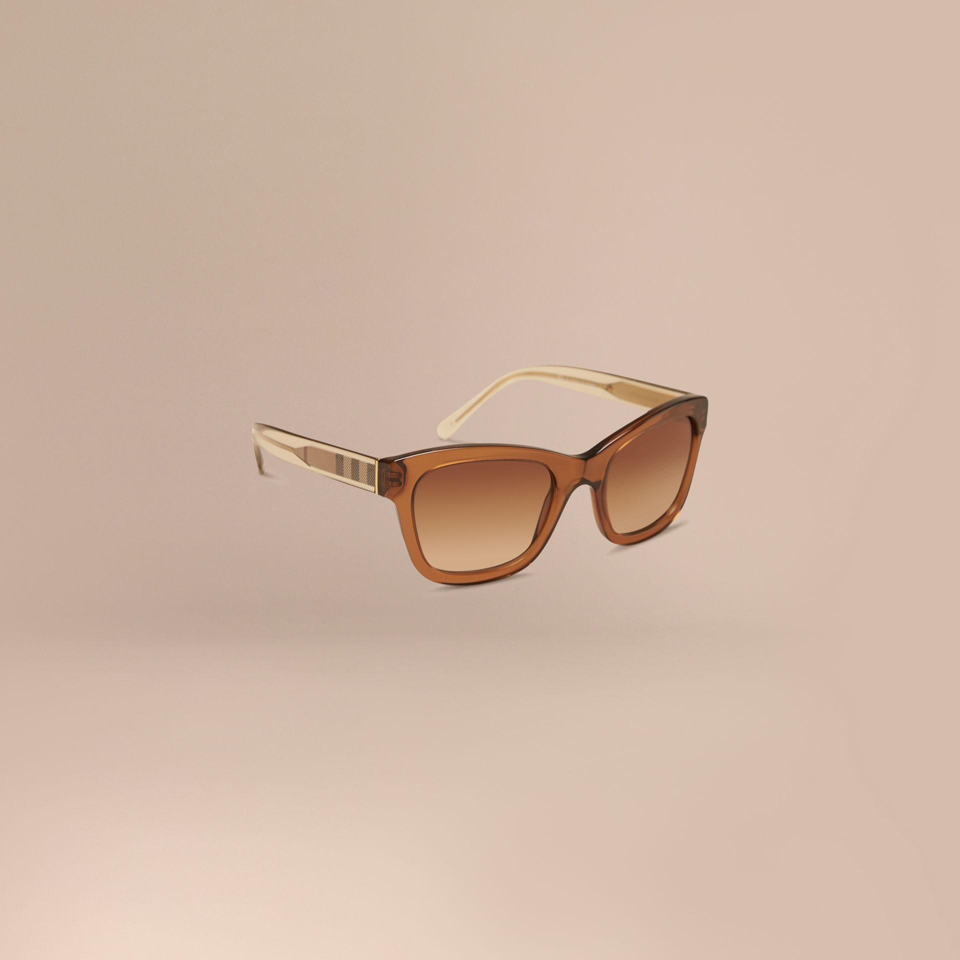 Taupe brown Check Detail Cat-eye Sunglasses Taupe Brown - gallery image 1