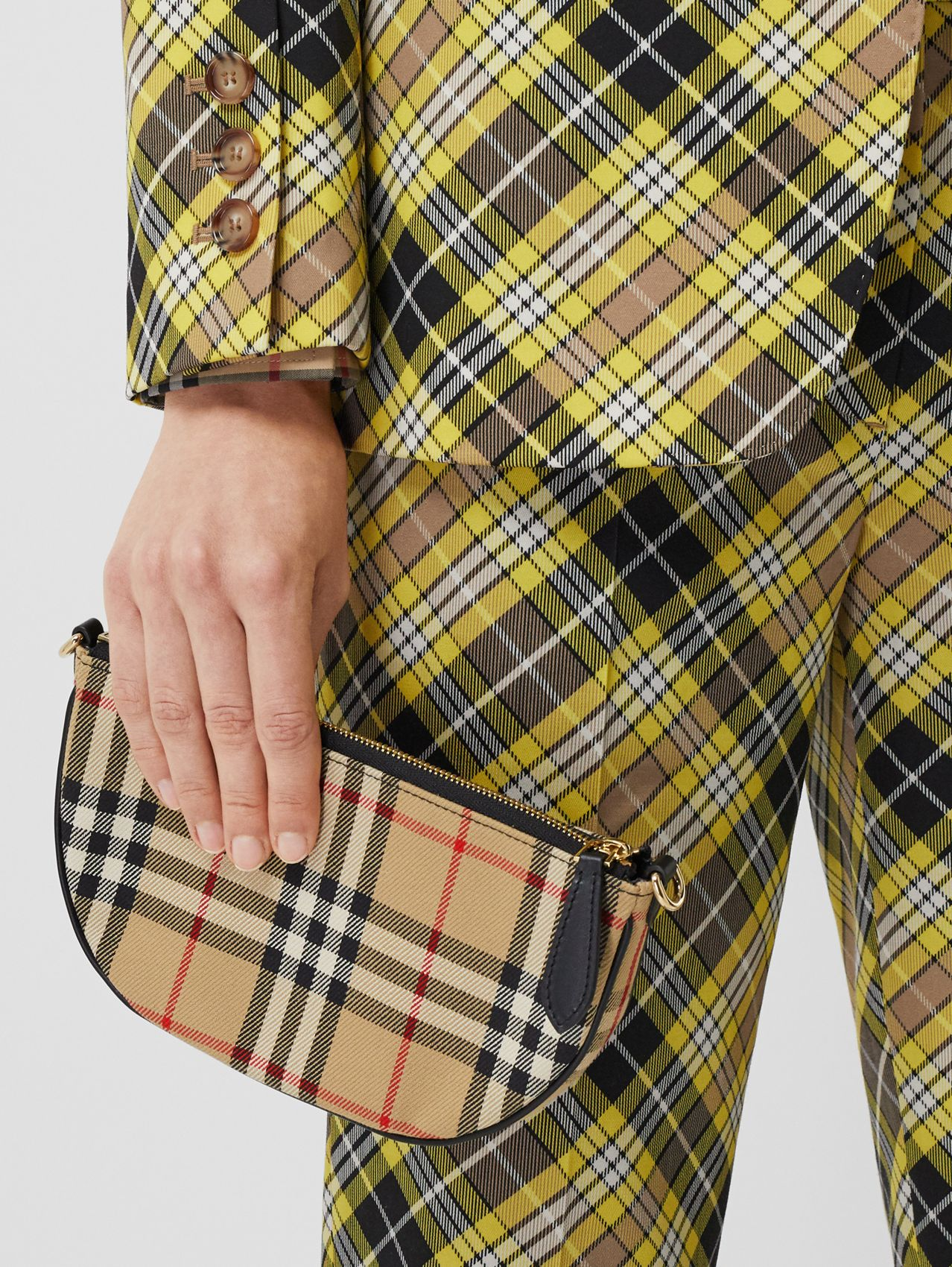 Vintage Check Cotton Olympia Pouch in Archive Beige
