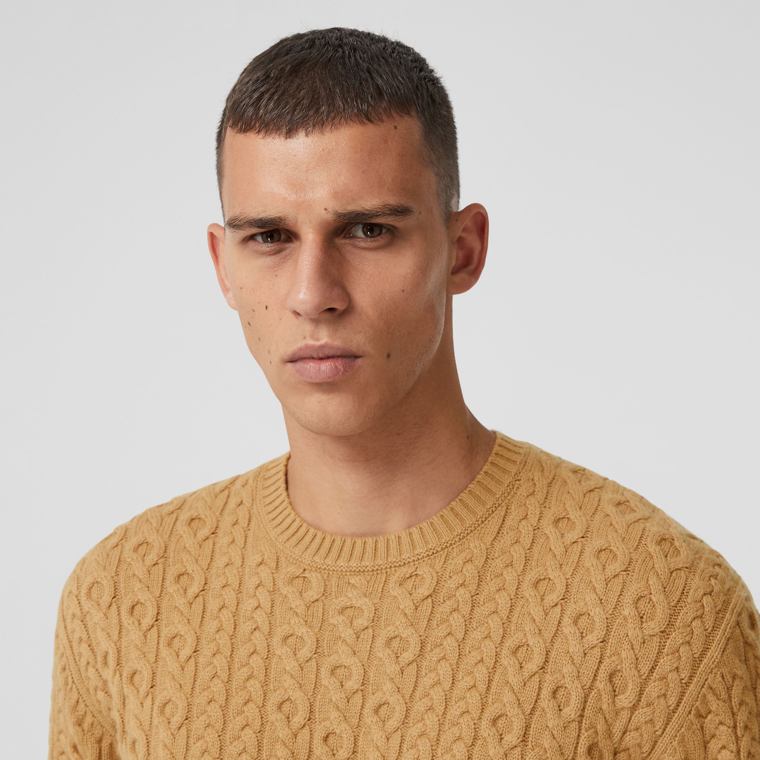 Cable Knit Wool Cashmere Sweater in Camel - Men | Burberry - 2