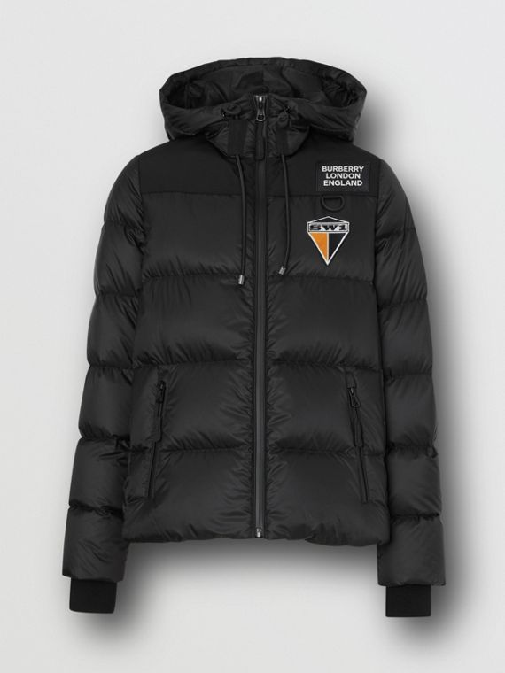 Logo Graphic Hooded Puffer Jacket in Black