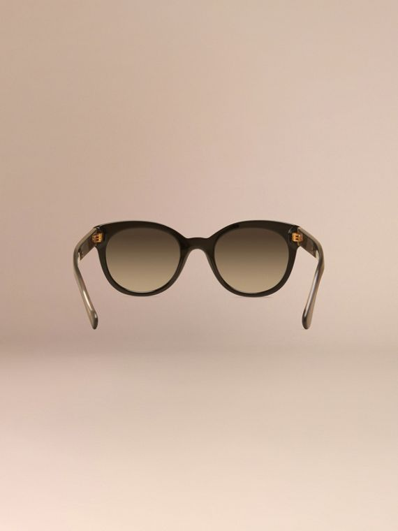 Black Check Detail Oval Sunglasses - cell image 3