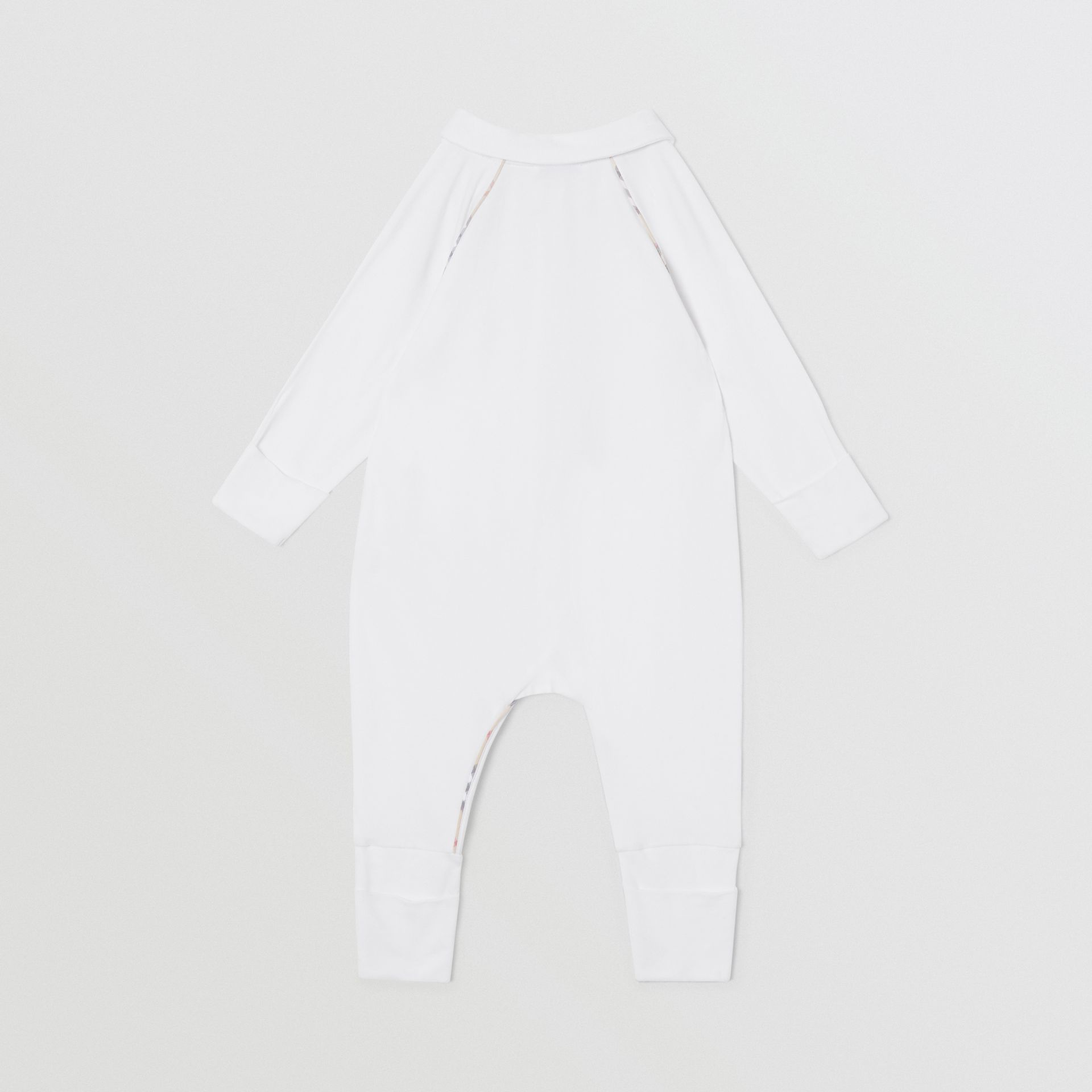 Check Trim Stretch Cotton Three-piece Baby Gift Set in White - Children | Burberry - gallery image 6