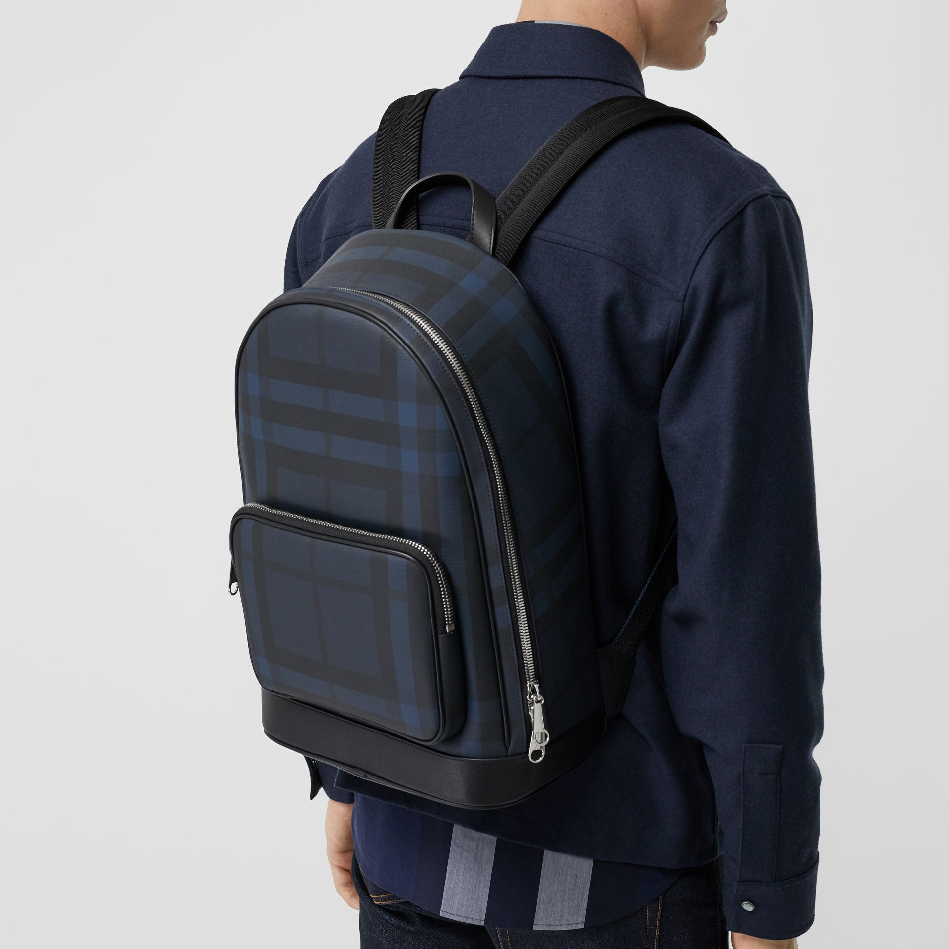 London Check and Leather Backpack in Navy/black - Men | Burberry - gallery image 3