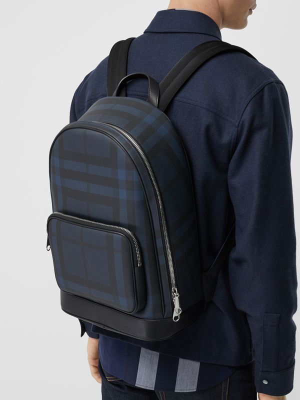 London Check and Leather Backpack in Navy/black - Men | Burberry - cell image 3