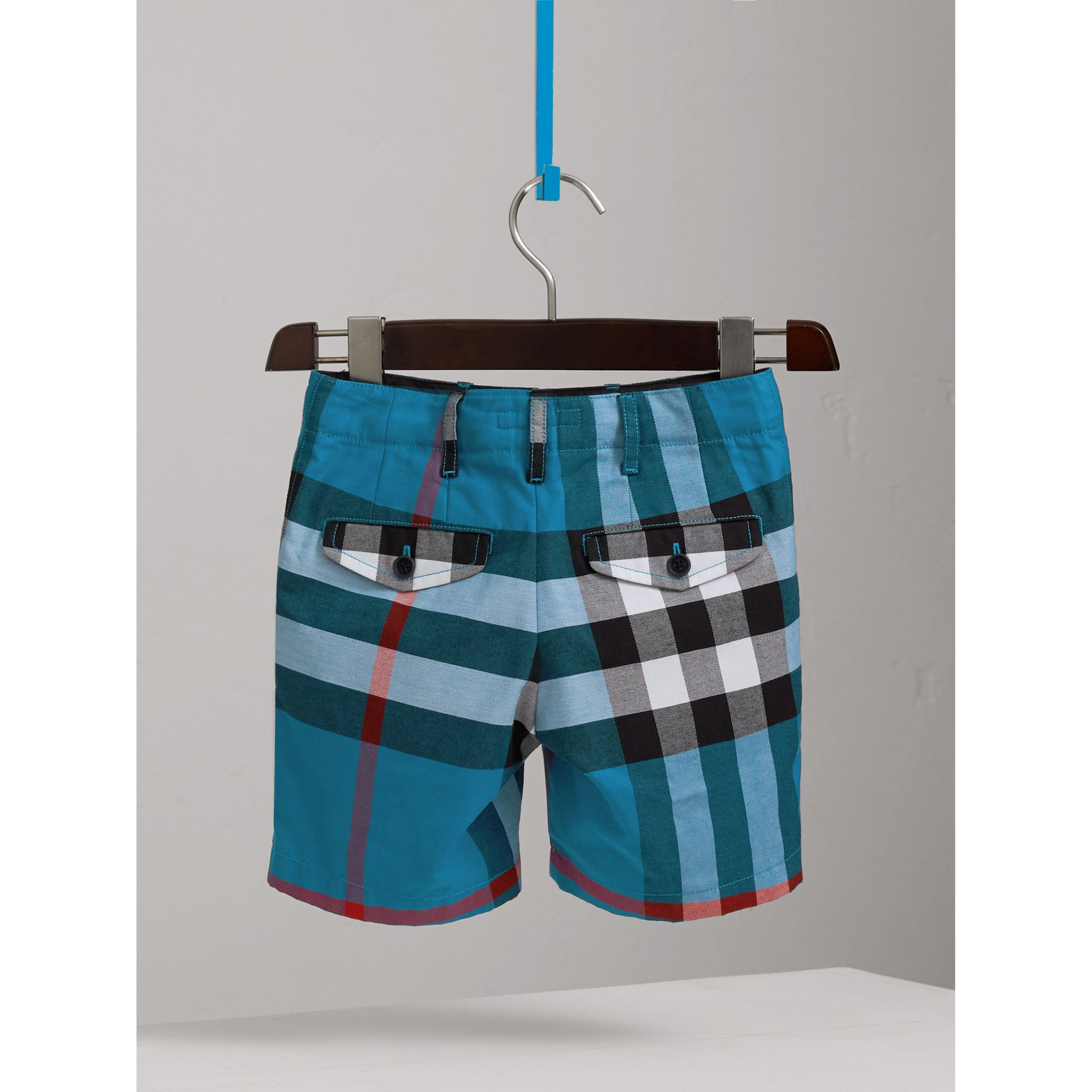 Check Cotton Shorts in Azure Blue - Boy | Burberry - gallery image 3