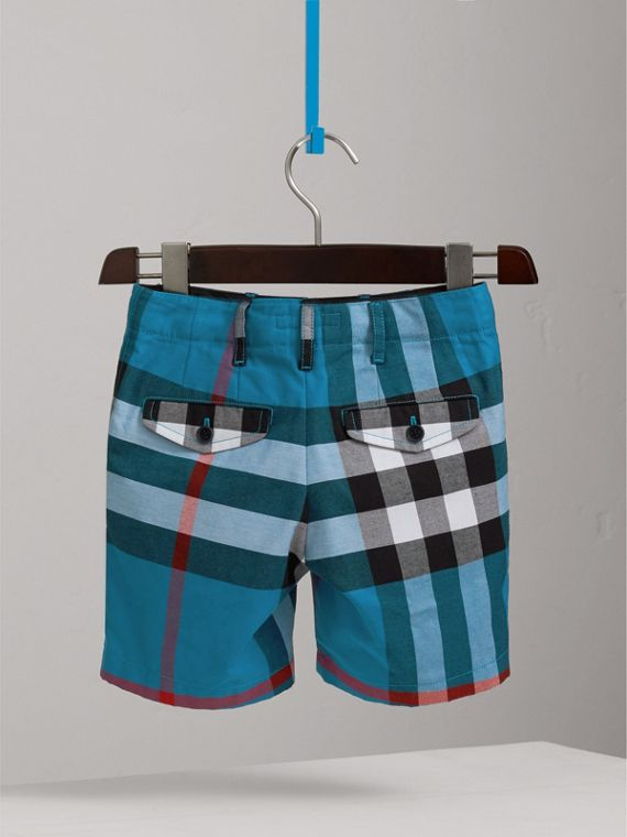 Check Cotton Shorts in Azure Blue - Boy | Burberry - cell image 3