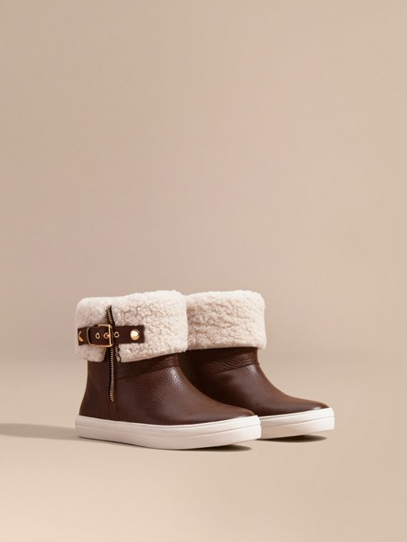 Shearling-lined Leather Ankle Boots - Women | Burberry