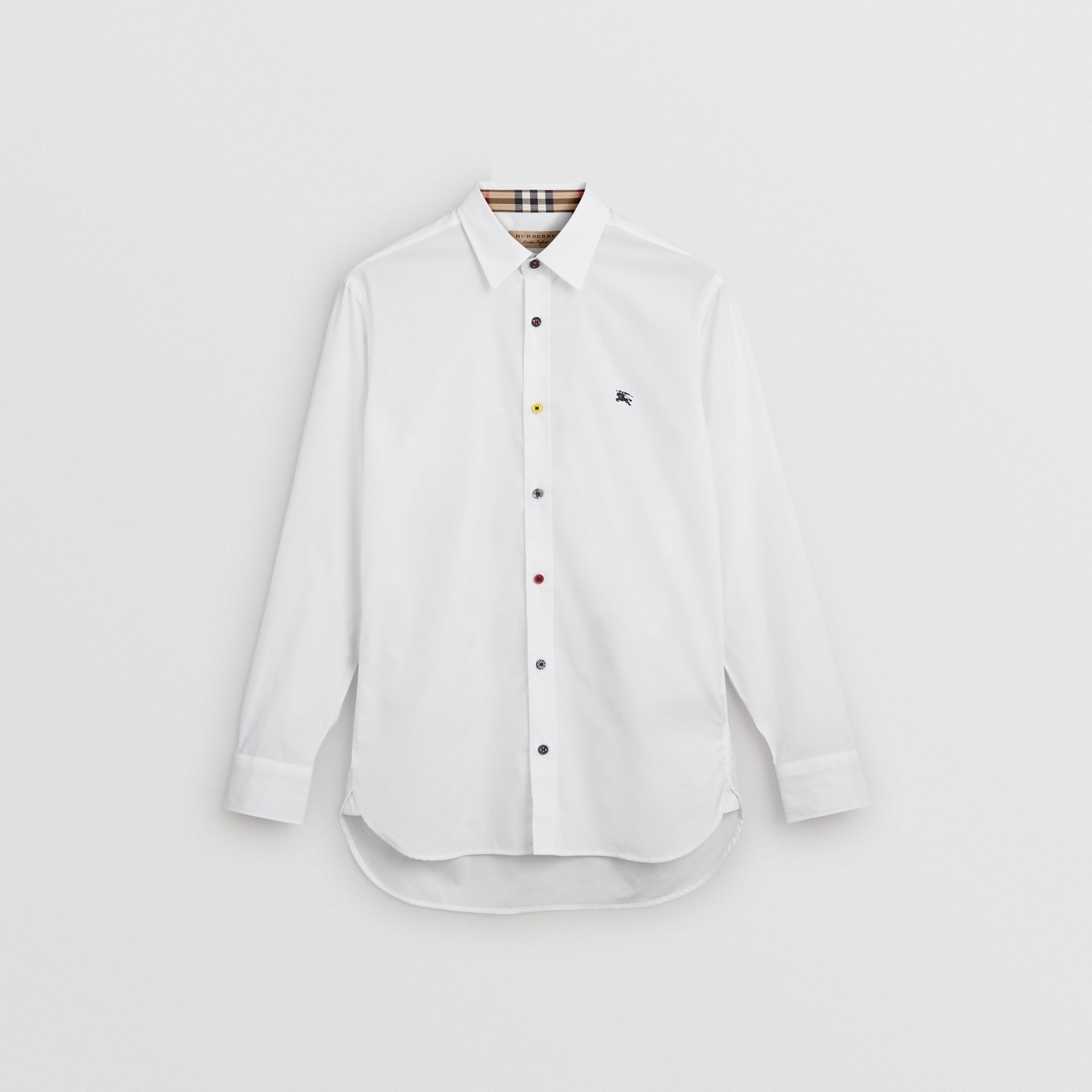 Contrast Button Stretch Cotton Shirt in White - Men | Burberry - gallery image 3