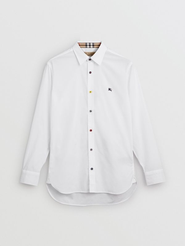 Contrast Button Stretch Cotton Shirt in White - Men | Burberry - cell image 3