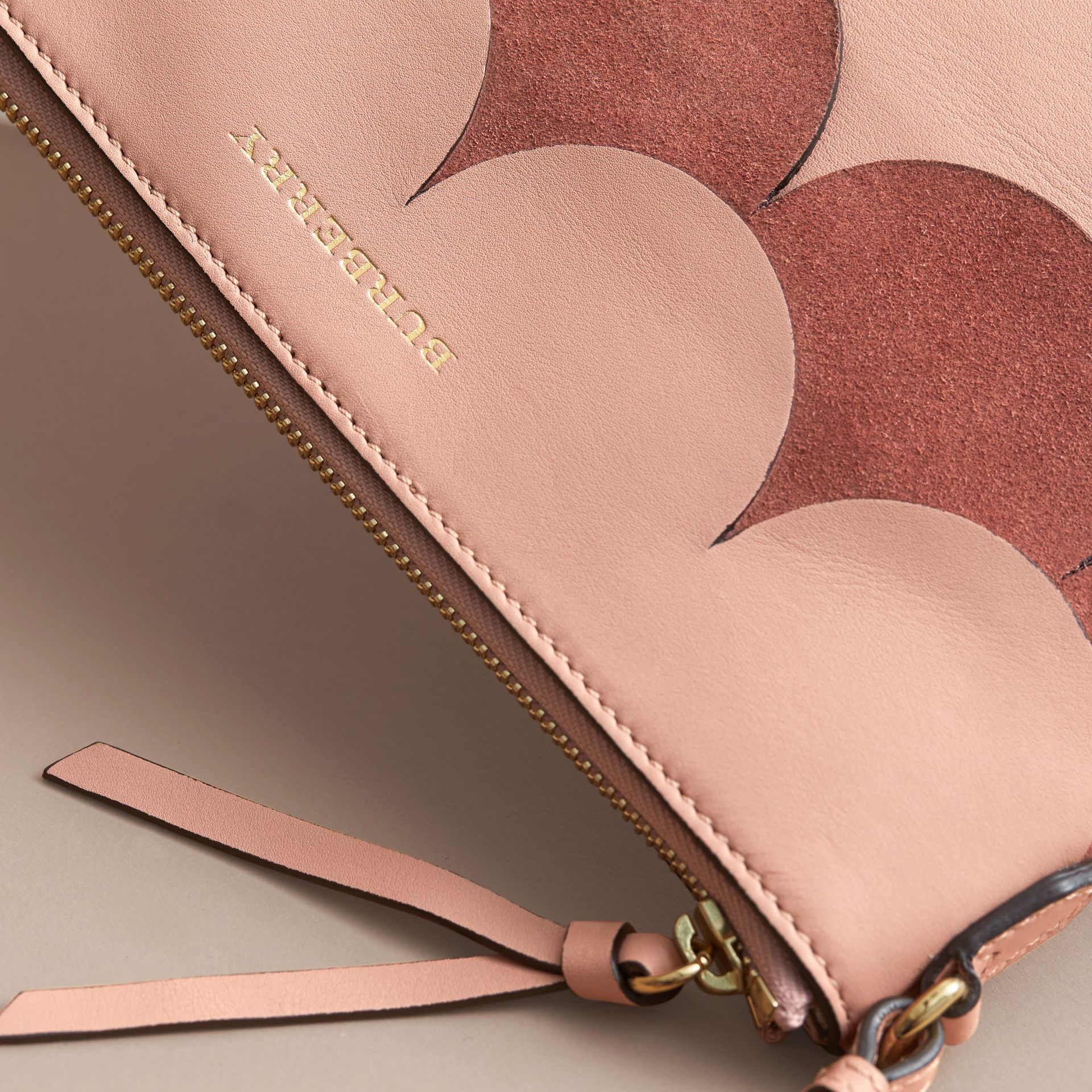 Two-tone Scalloped Leather and Suede Clutch Bag in Ash Rose - Women | Burberry Singapore - gallery image 2