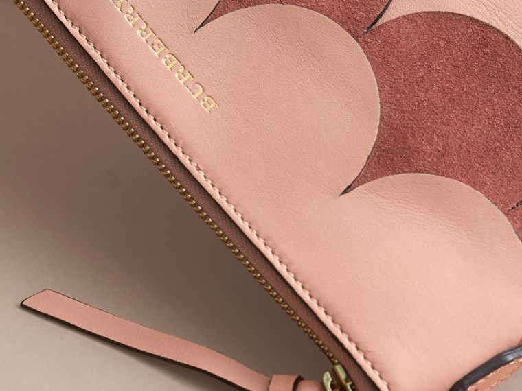 Two-tone Scalloped Leather and Suede Clutch Bag in Ash Rose - Women | Burberry Singapore - cell image 1