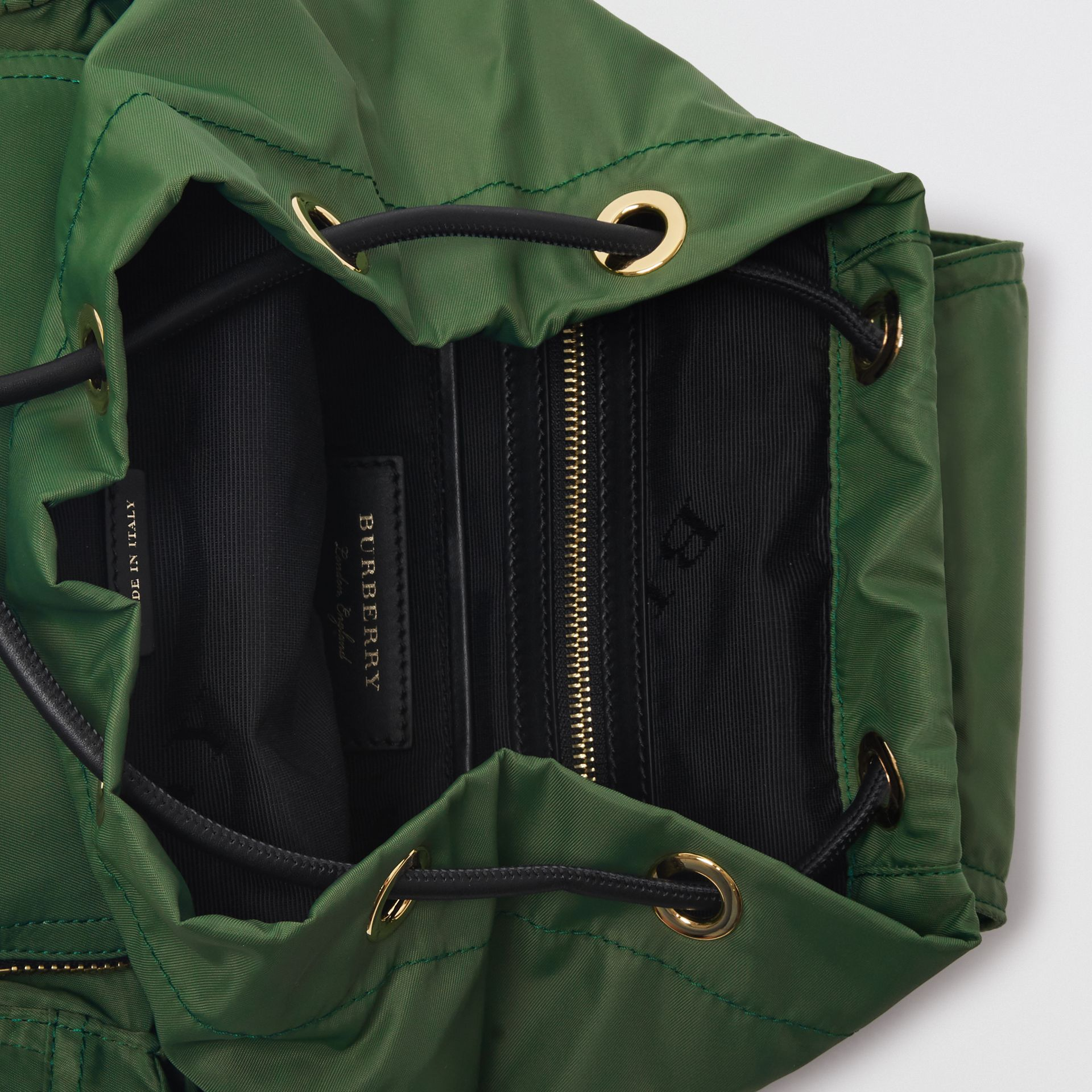 The Medium Rucksack in Technical Nylon and Leather in Racing Green | Burberry - gallery image 5