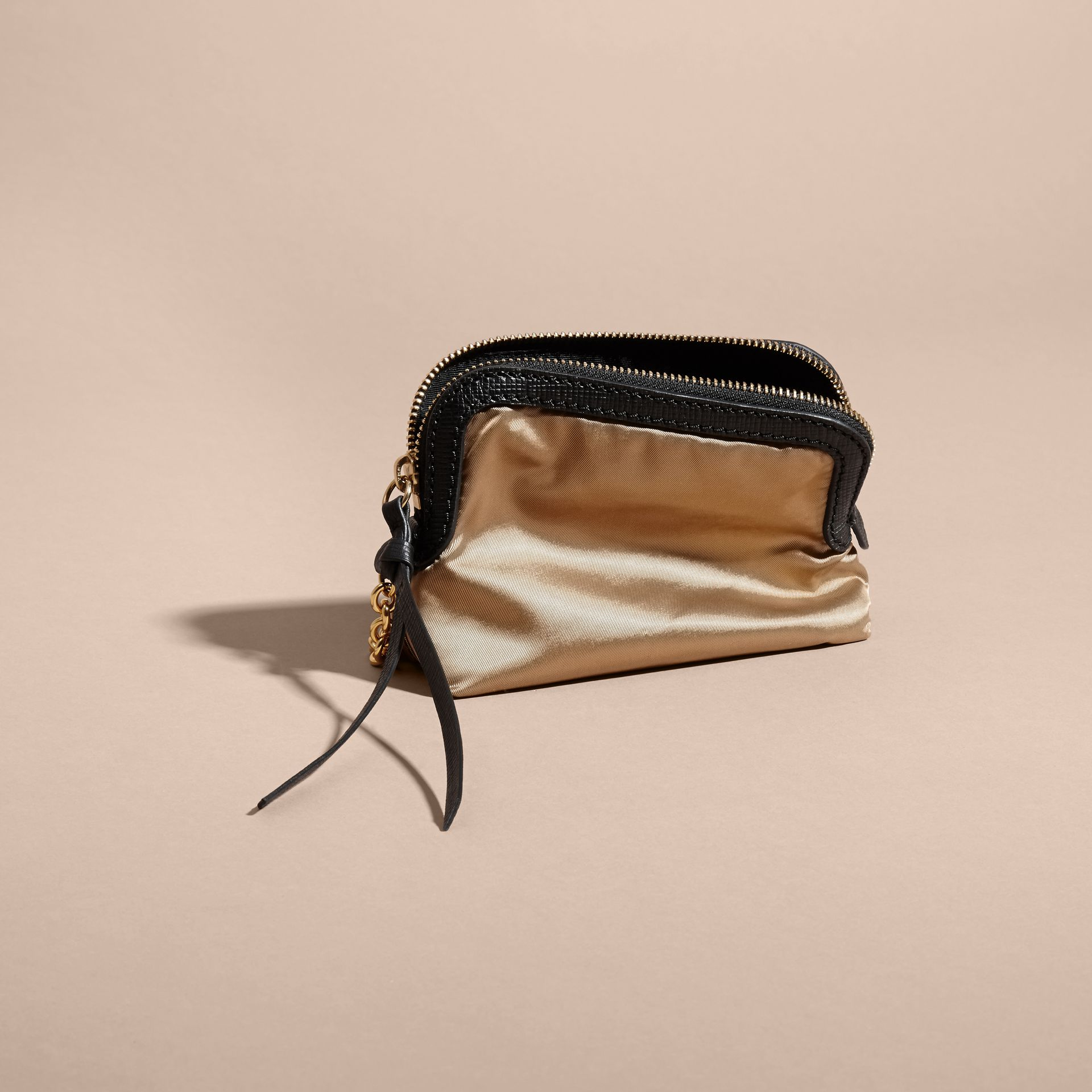 Small Zip-top Leather-trimmed Technical Nylon Pouch - Women | Burberry - gallery image 3