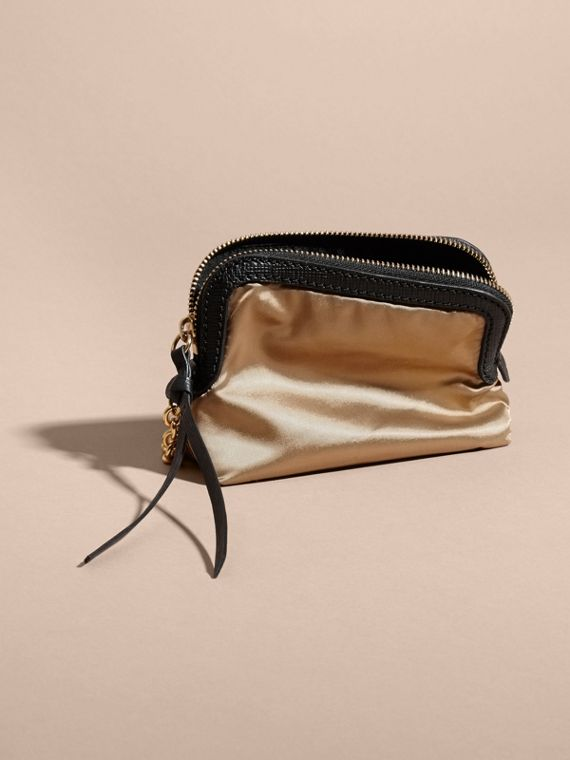 Small Zip-top Leather-trimmed Technical Nylon Pouch - cell image 2