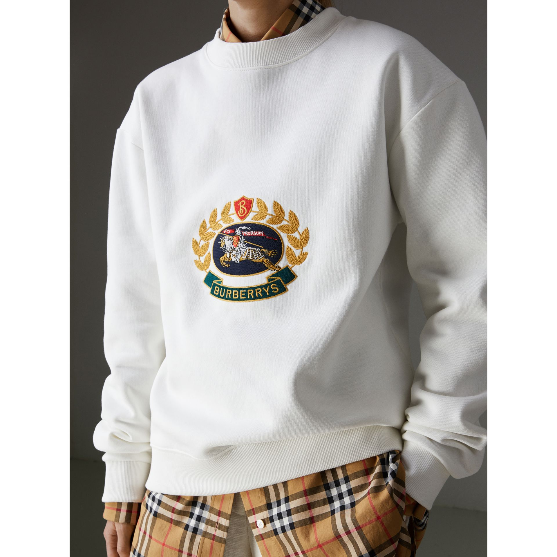 Reissued Jersey Sweatshirt in Off White - Women | Burberry - gallery image 1
