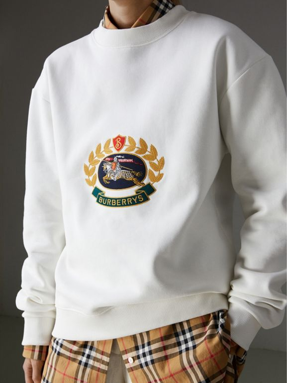 Reissued Jersey Sweatshirt in Off White - Women | Burberry Singapore - cell image 1