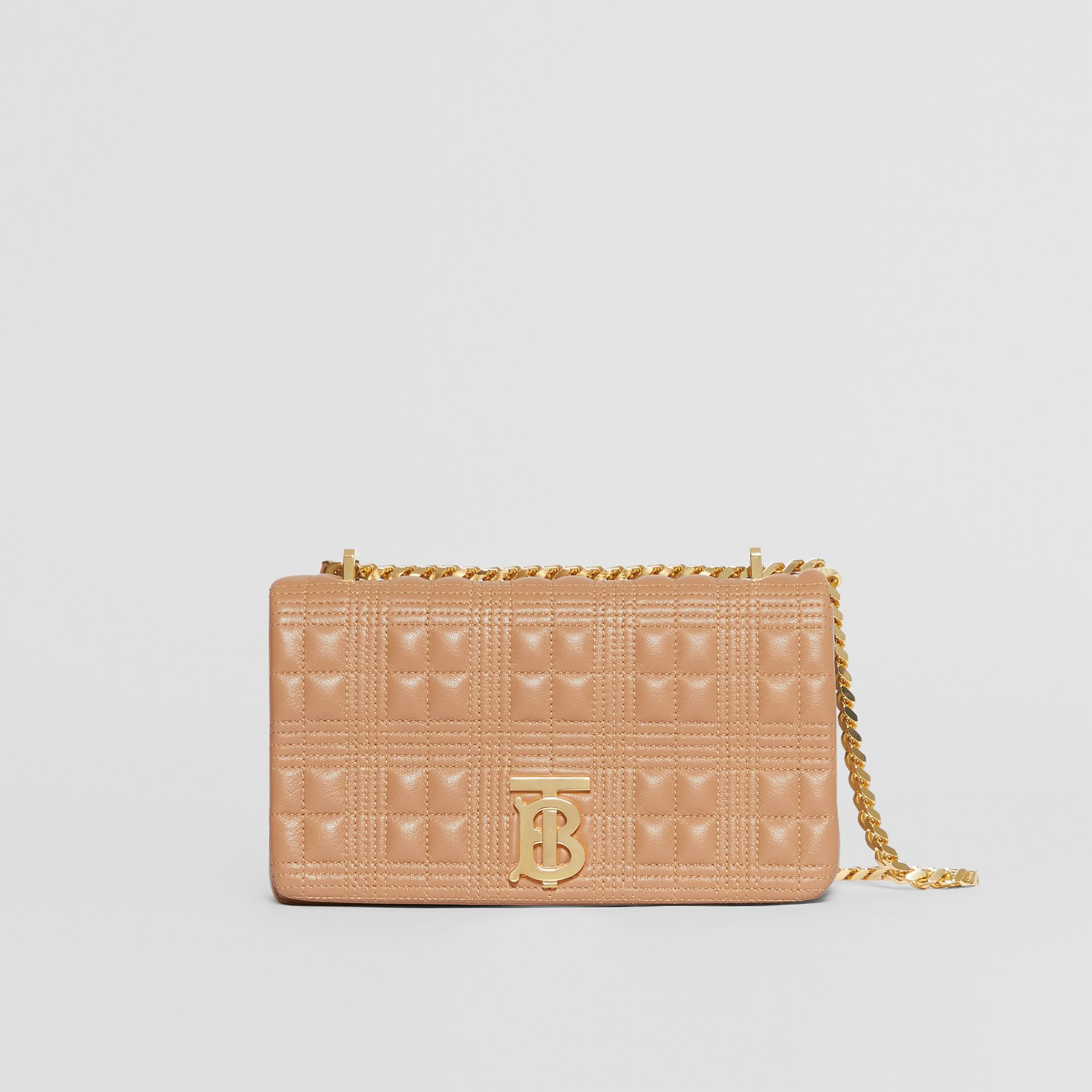 Small Quilted Check Lambskin Lola Bag in Camel | Burberry United Kingdom - gallery image 0