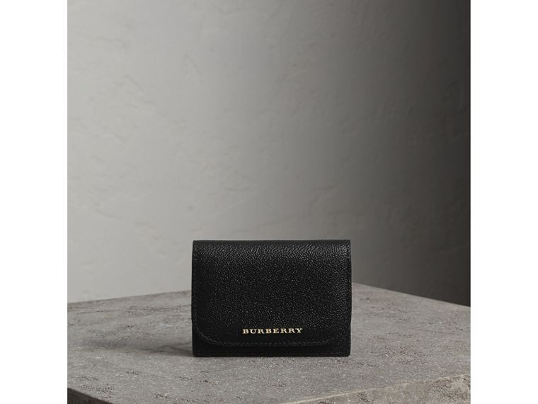 Grainy Leather Card Case in Black - Women | Burberry - cell image 4