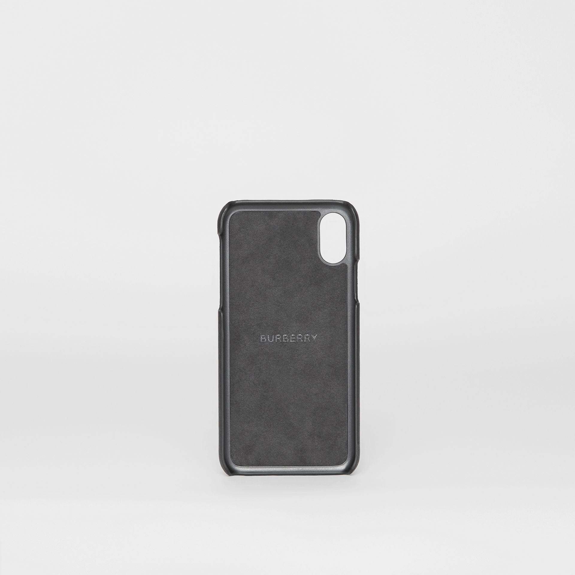 Logo Print Leather iPhone X/XS Case in Black | Burberry - gallery image 2