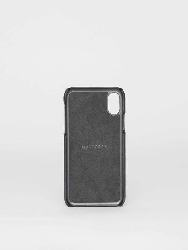 Funda para iPhone X/XS en piel con estampado de logotipo (Negro) | Burberry - cell image 2