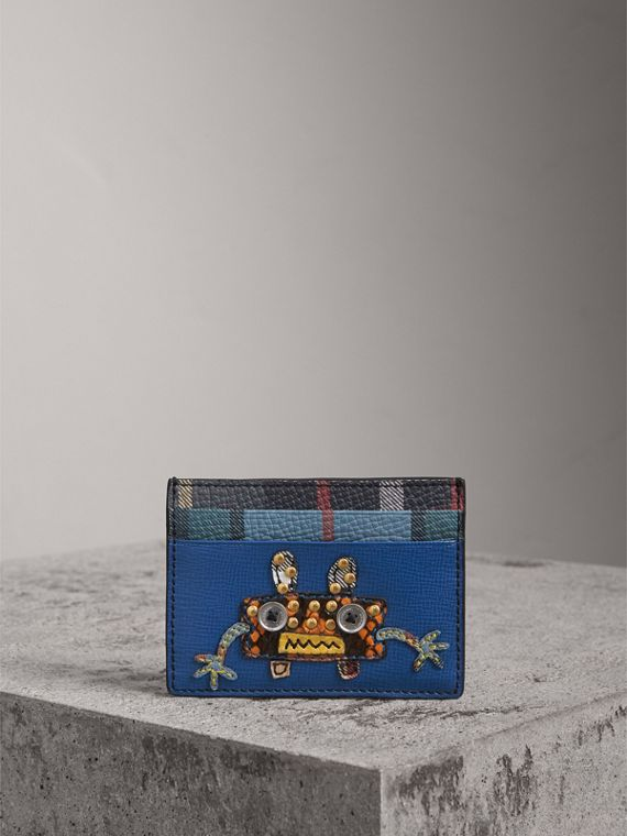 Creature Appliqué Leather Card Case in Deep Blue - Men | Burberry United States - cell image 3