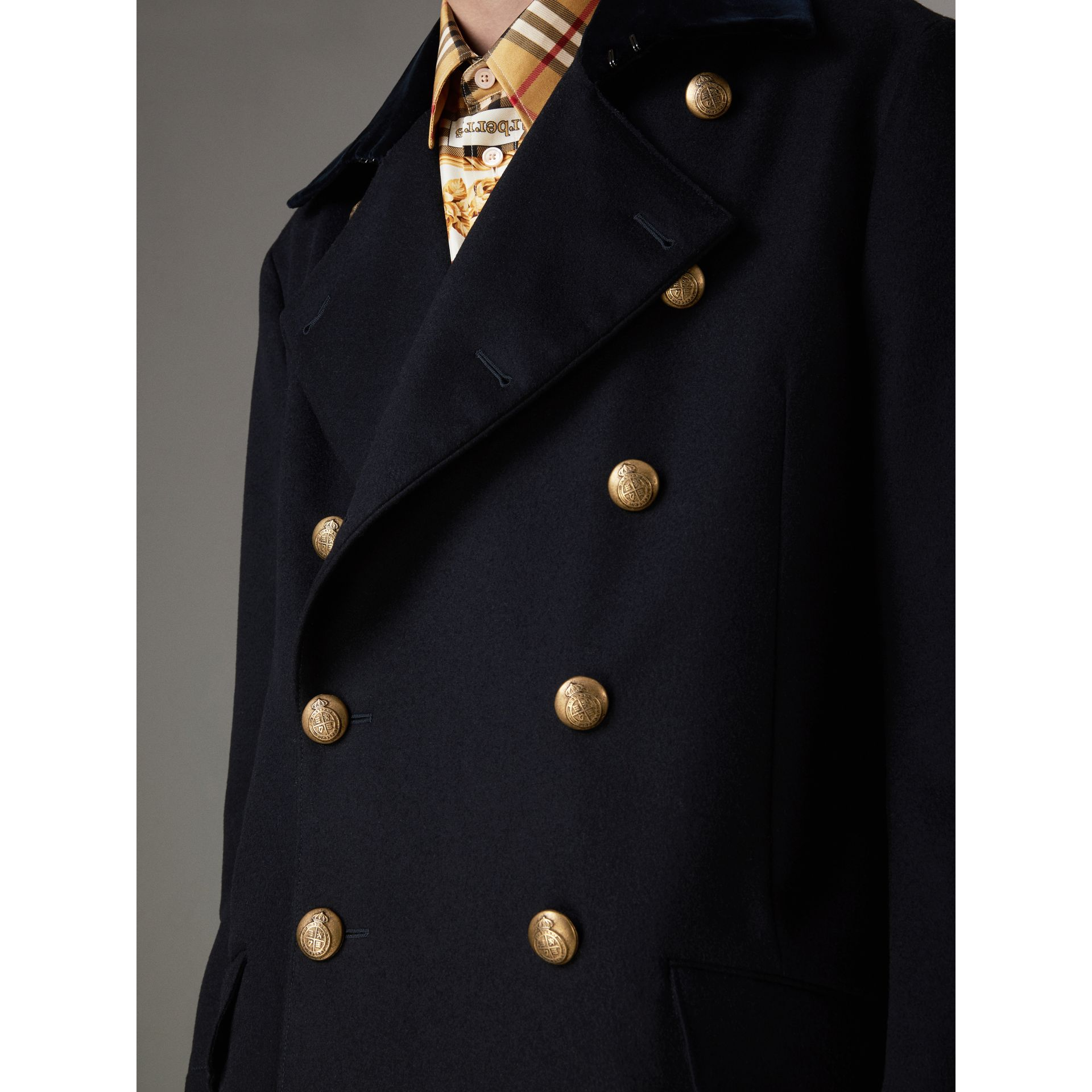 Velvet Collar Doeskin Wool Military Coat in Dark Navy | Burberry - gallery image 1