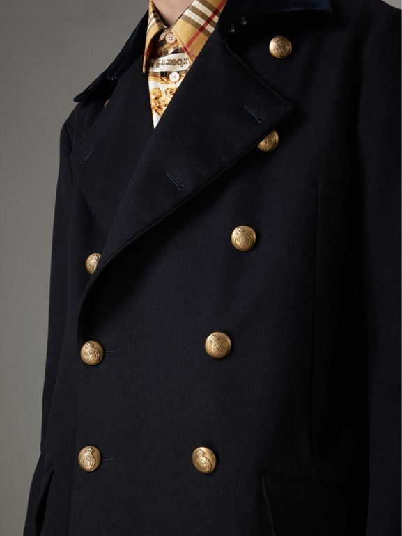 Velvet Collar Doeskin Wool Military Coat in Dark Navy | Burberry - cell image 1
