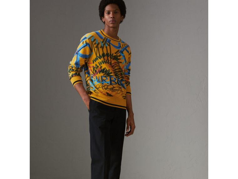 Graffiti Scribble Intarsia Cashmere Sweater in Amber Yellow - Men | Burberry - cell image 4