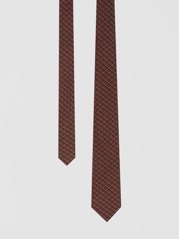 Classic Cut Logo Graphic Silk Tie in Red