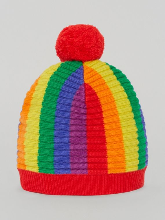 Striped Wool Cashmere Beanie in Multicolour