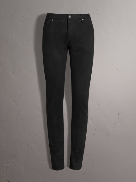 Skinny Fit Brushed Stretch Denim Jeans in Black
