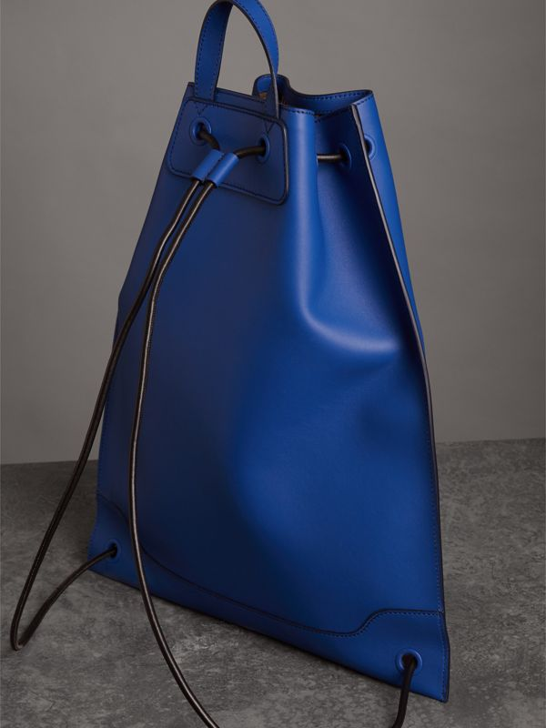 Graffiti Print Bonded Leather Drawcord Backpack in Denim Blue - Men | Burberry - cell image 2