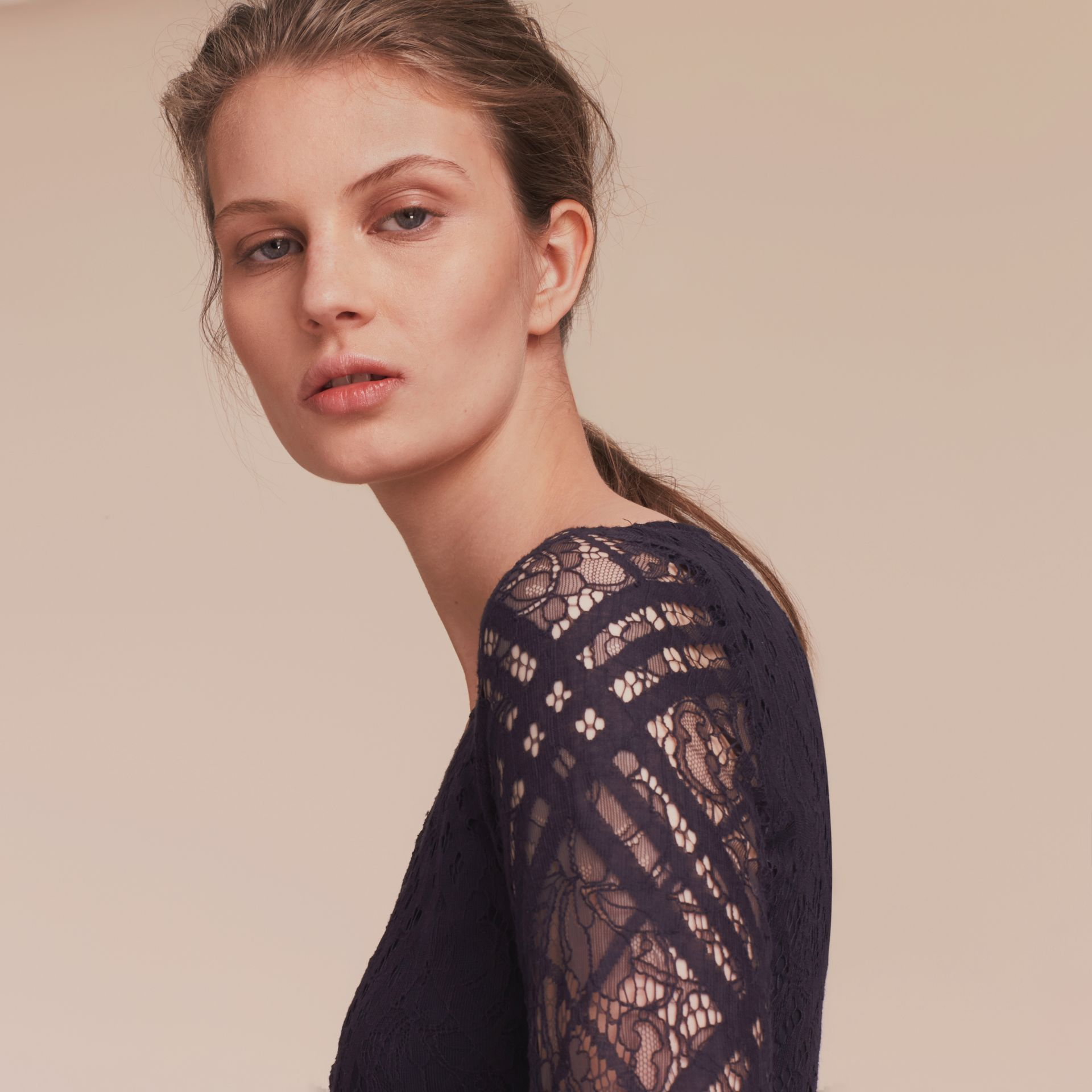 Check Lace Fit and Flare Dress in Navy - Women | Burberry - gallery image 5