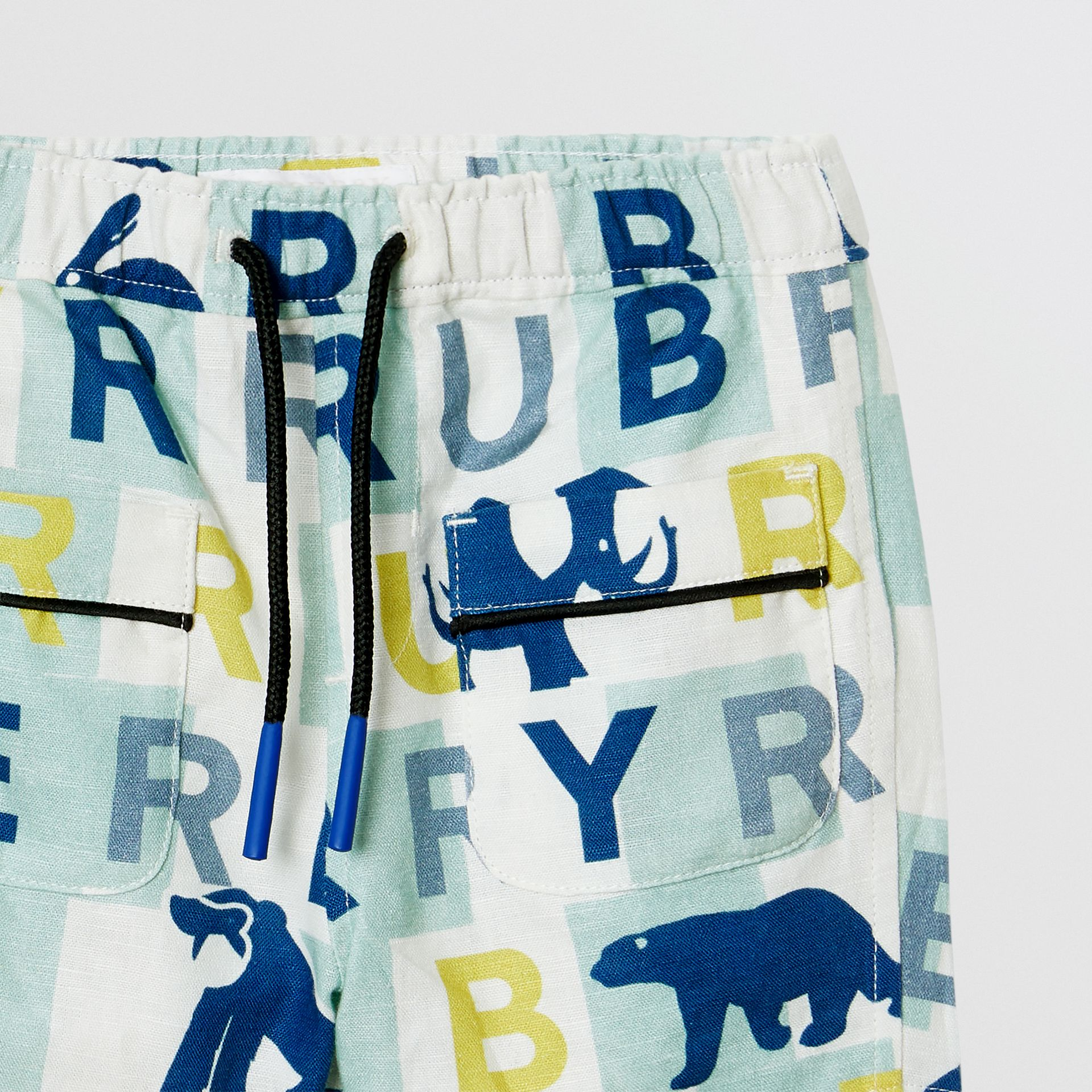 Logo Print Linen Cotton Shorts in Pale Mint - Children | Burberry - gallery image 4